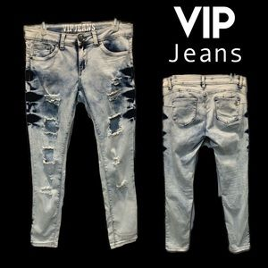 Bleach Washed Distressed Skinny vip Jeans